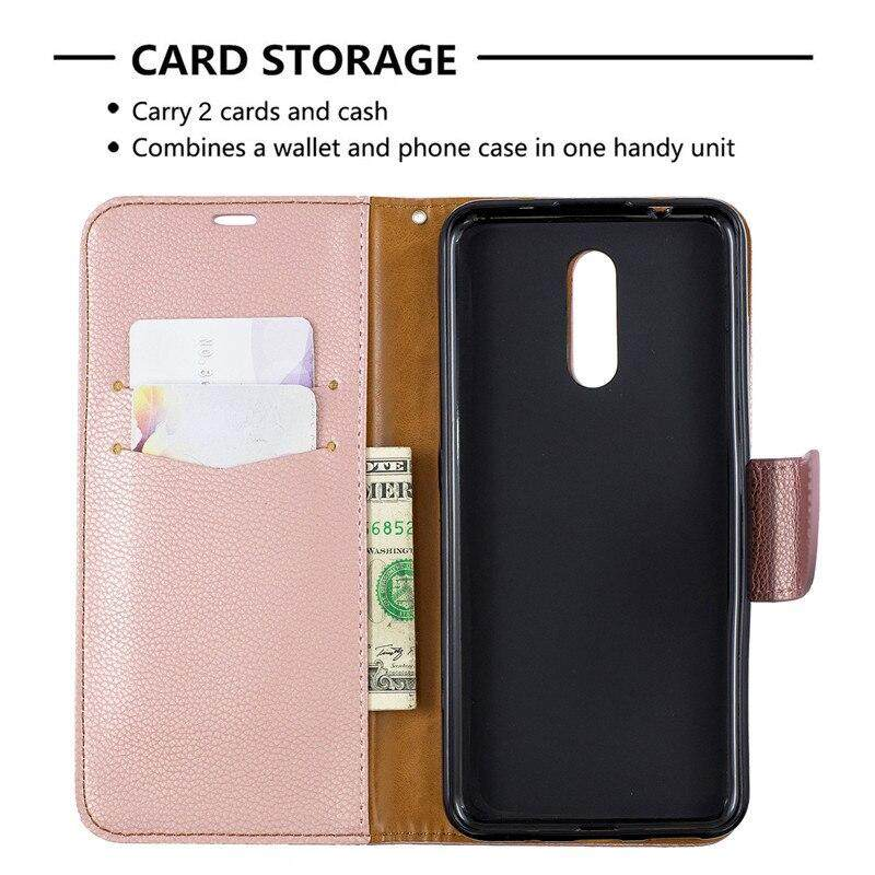 new product 17f1c 5c98d For Nokia 3.2Flip Cover Stand Wallet For Nokia 3.2 Case Pure Color wallet  Lichee Pattern PU Leather Mobile Phone Flip Cases