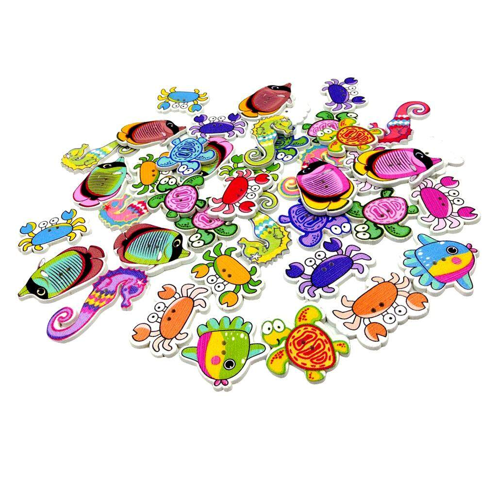100x Assorted Marine Animals 2-holes Flatback Wooden Buttons for Kids Craft