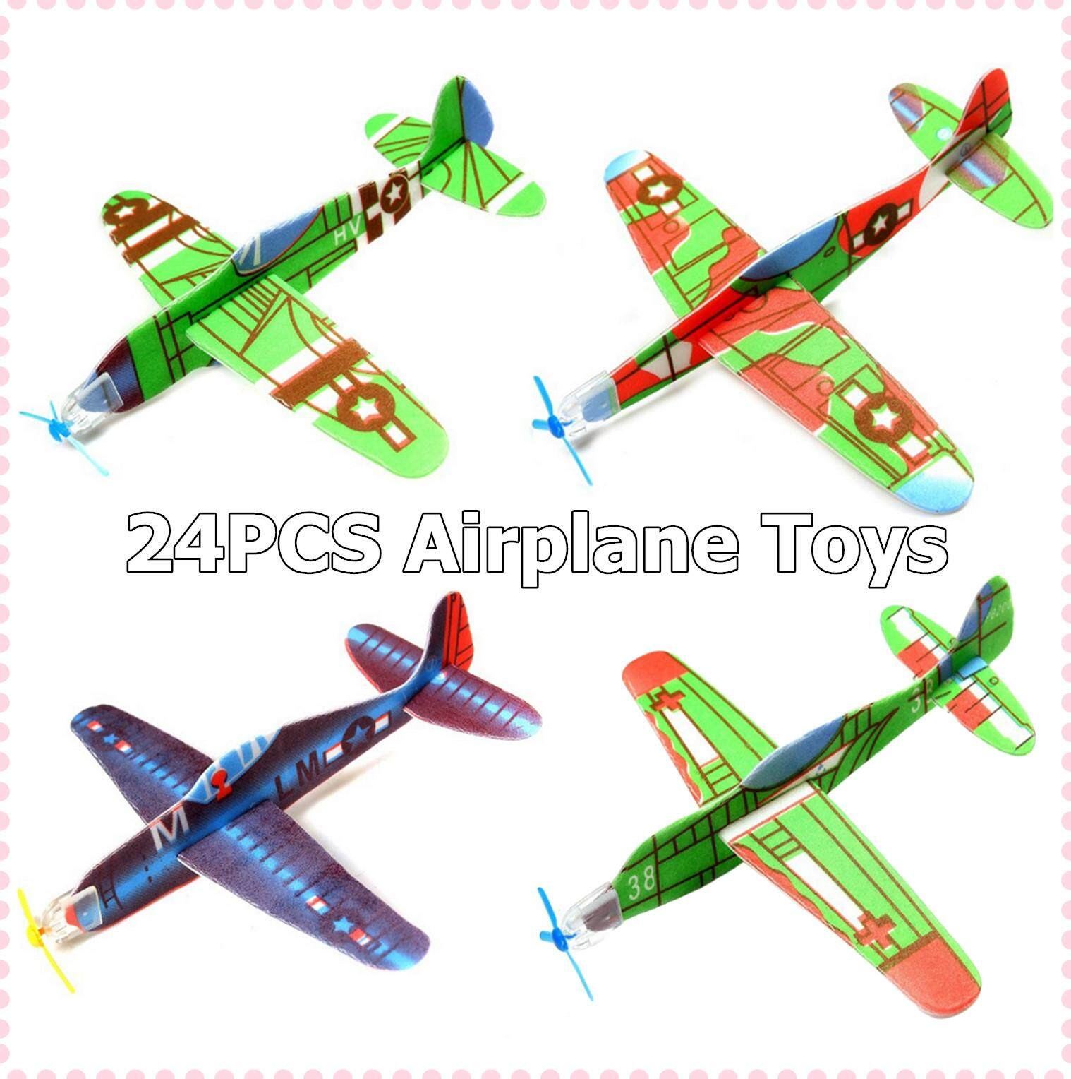 24PCS Hand-Throwing DIY Roundabout Foam Airplane Aircraft Glider Planes  Model Toys for Kids Children Gifts Rewards Prizes Random Style