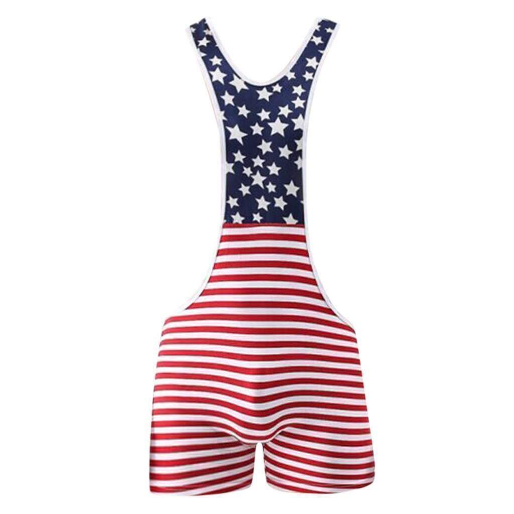 Men American Flag Wrestling Singlet Underwear Bodysuit Lingerie Outfit Pants N