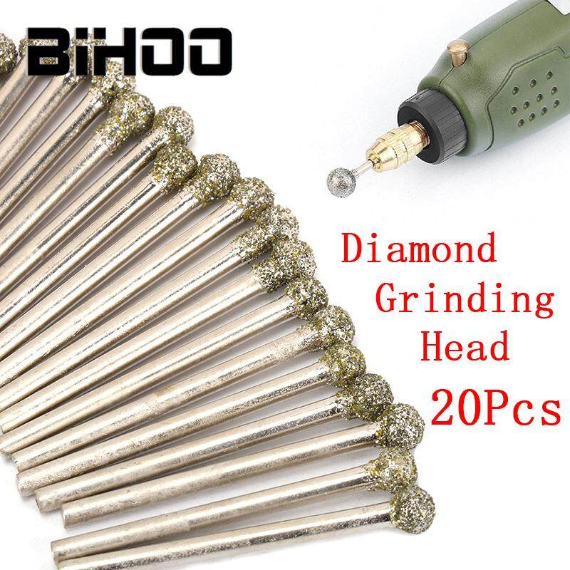 Alloy 3MM Shank 20Pcs Glass 4mm 46 Grit Round Ball Shape Diamond Grinding Head Drill Bits Rotary Tools for Internal Grinding Carbide in Ceramic