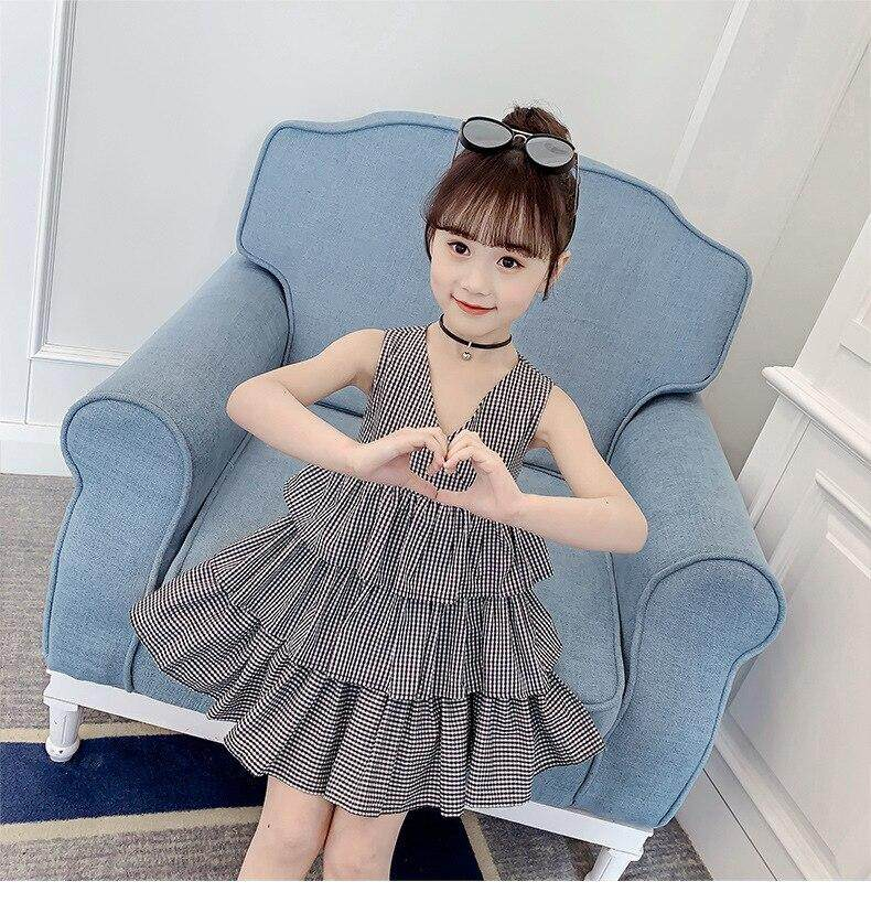 2db87f8687112 Backless Bow Baby Princess Dress Children Summer Girl Clothing Ruffles Big  Kids Girls Dresses Party V Neck Black Red Sundress