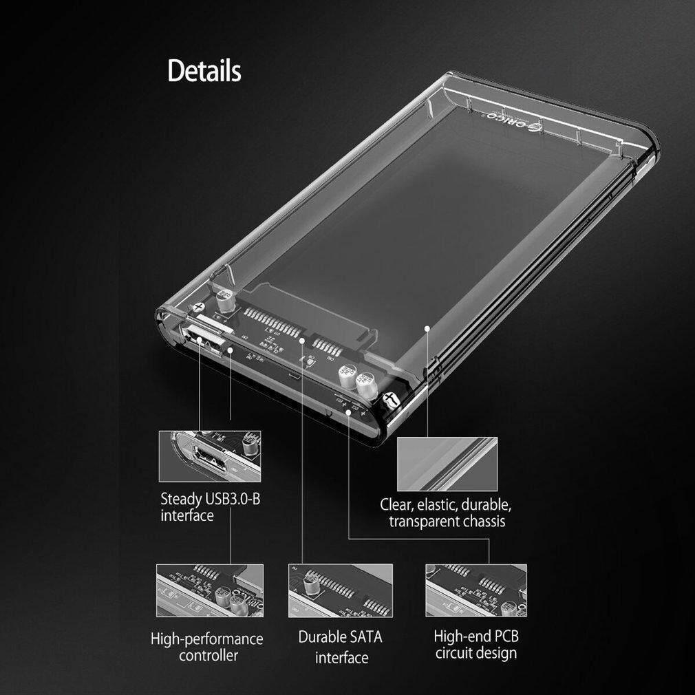 2.5 inch Transparent USB3.0 HDD Case Tool Free UASP Hard Drive Enclosure Clear @