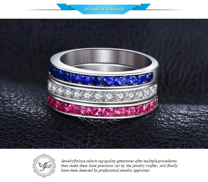 7b0eb4515b JewelryPalace three stack 1.8ct Round Created Ruby Sapphire Cubic ...