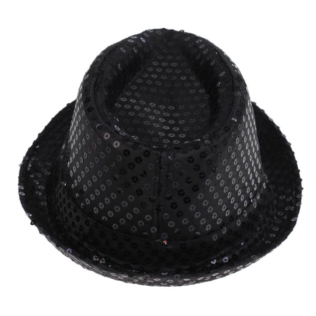 Black Sequinned Fancy Dress Hat Sequin Fedora Cylinder Mens Womens Carnival