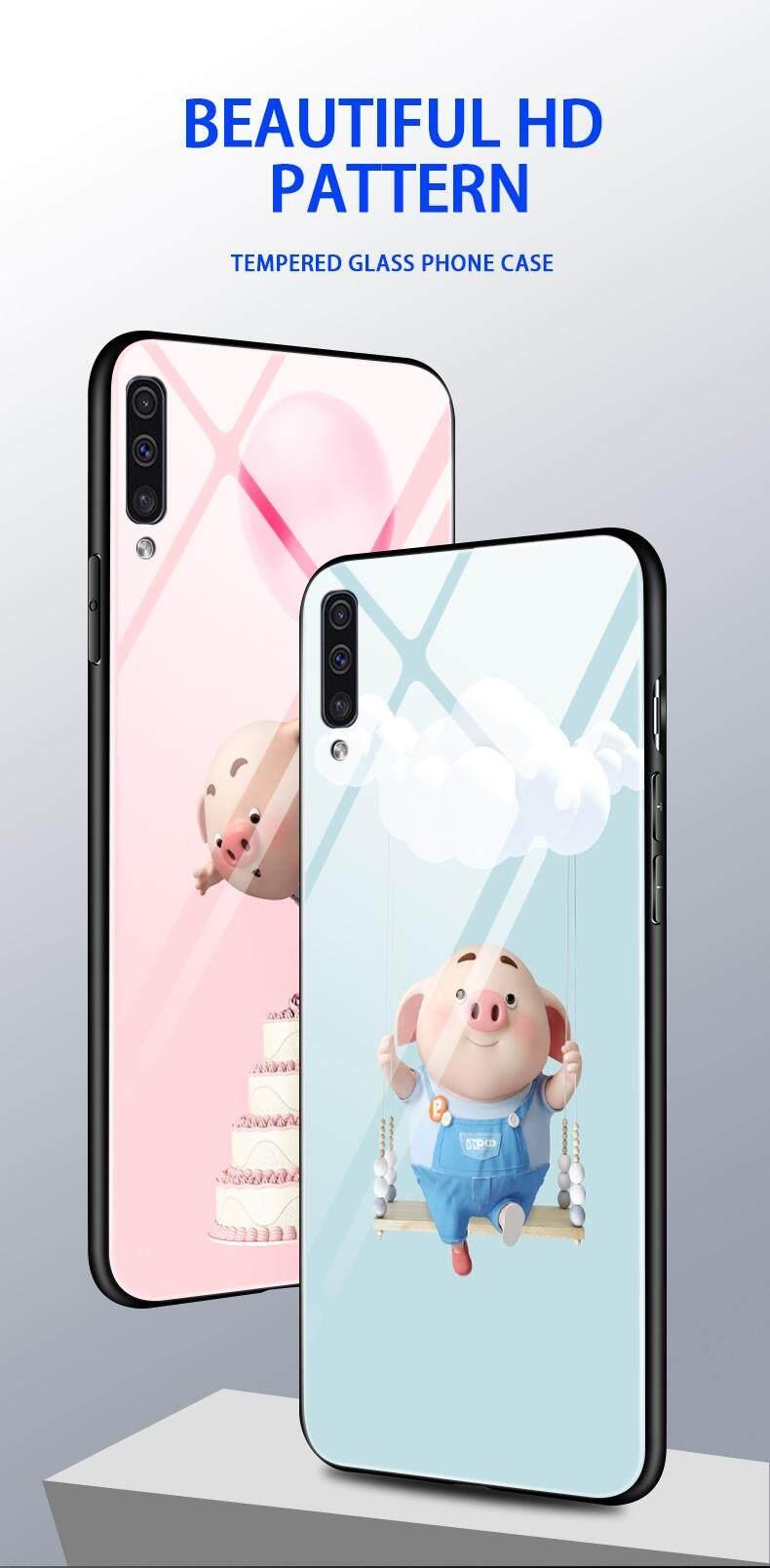 Maikcq Super Fashion Lucu Babi Kentut Kaos Gambar Kartun Kaca Antigores Plus Edge Tpu Pelindung Kejut Ponsel Case Cover Untuk Samsung Galaxy A50 2019