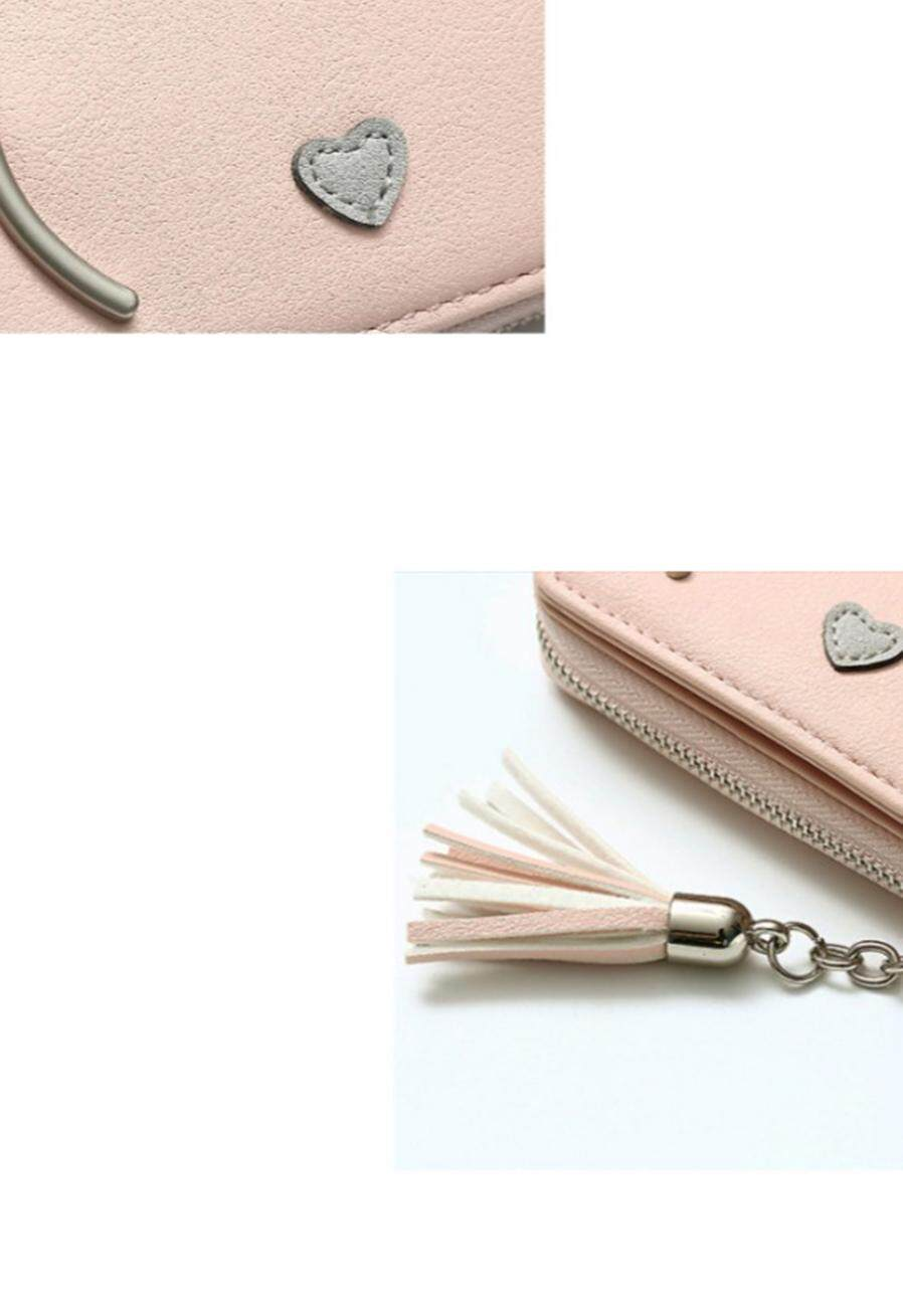 d5acfca67792 Cute Cat Anime PU Leather Two-fold Slim Mini Wallet Women Small Clutch Coin  Purse Card Holder Tassel Chain Short Wallet