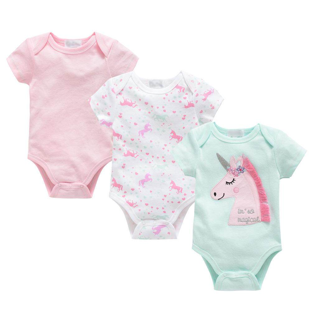 bfb546934271c 3Pcs Baby Rompers Summer Baby Girl Clothes 2019 Newborn Baby Clothes Cotton  Baby Unicorn Infant Jumpsuits