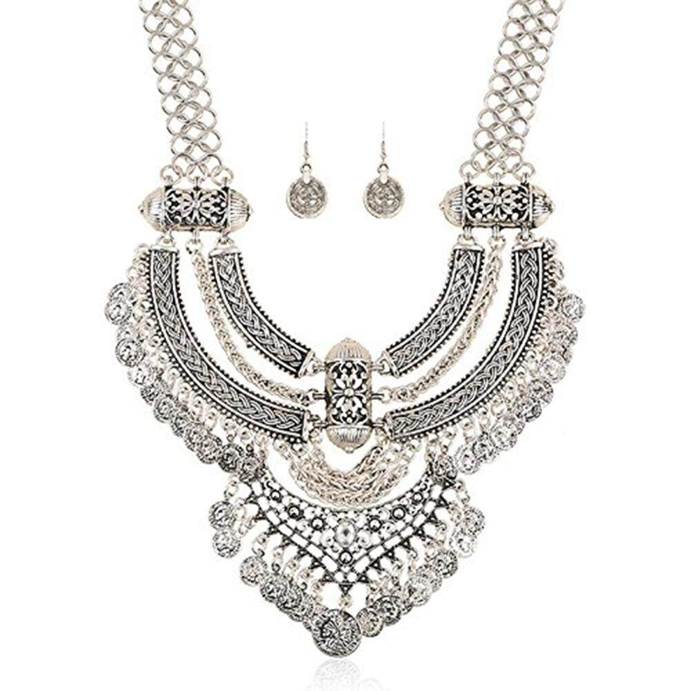 Fashion Jewelry Silver Crystal Wedding Bridal Necklace Earring Jewellery Set party Jewelry Sets prom