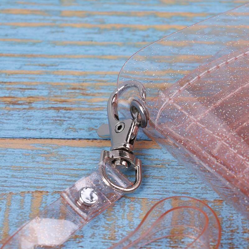 Bling Transparent ID Card Wallet PVC Folding Lanyard Glitter Business Card~Purse