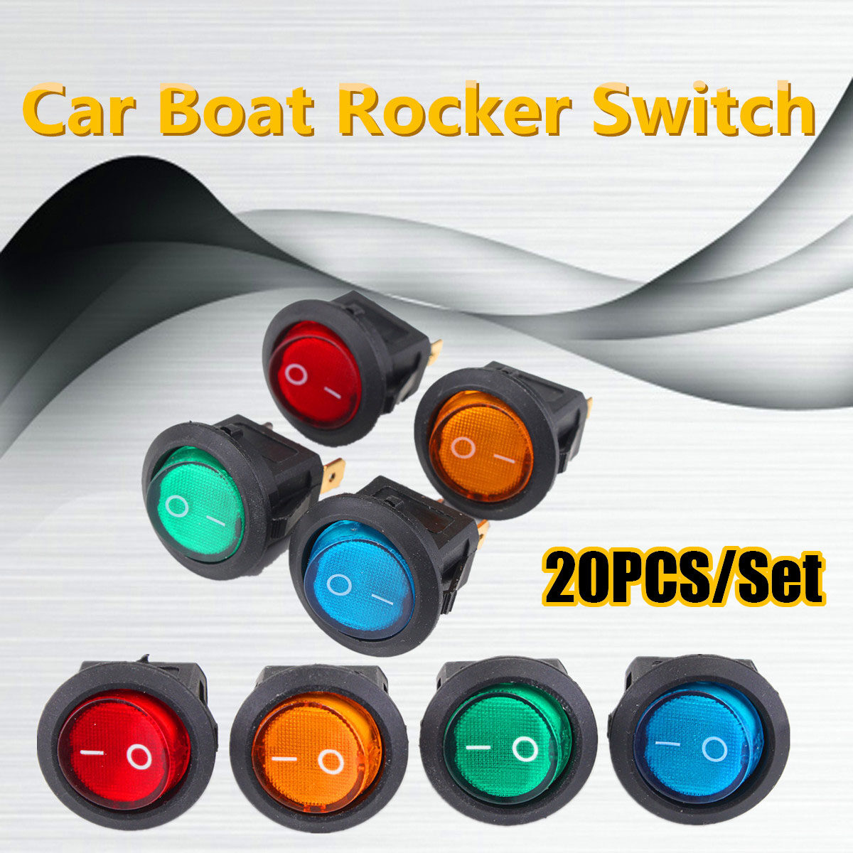 Green On//Off Lighted LED Round Rocker Switch Car Dashboard Dash SPST 12V