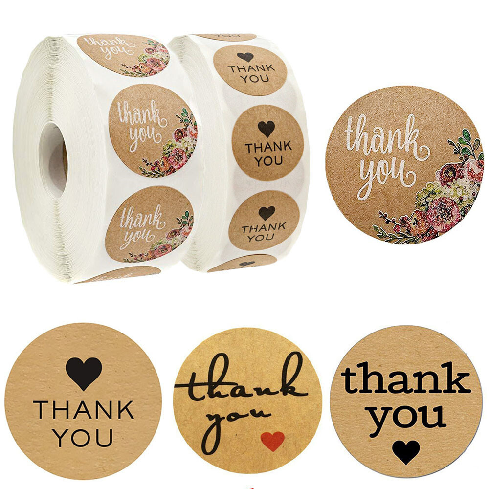 Cake Pops Cupcake Boxes or Gift Boxes A Pink Cookie Bags 500 Stickers Circle Shape Handmade Adhesive Labels Thank You Stickers Labels,Decorative Sealing Labels for DIY Candy