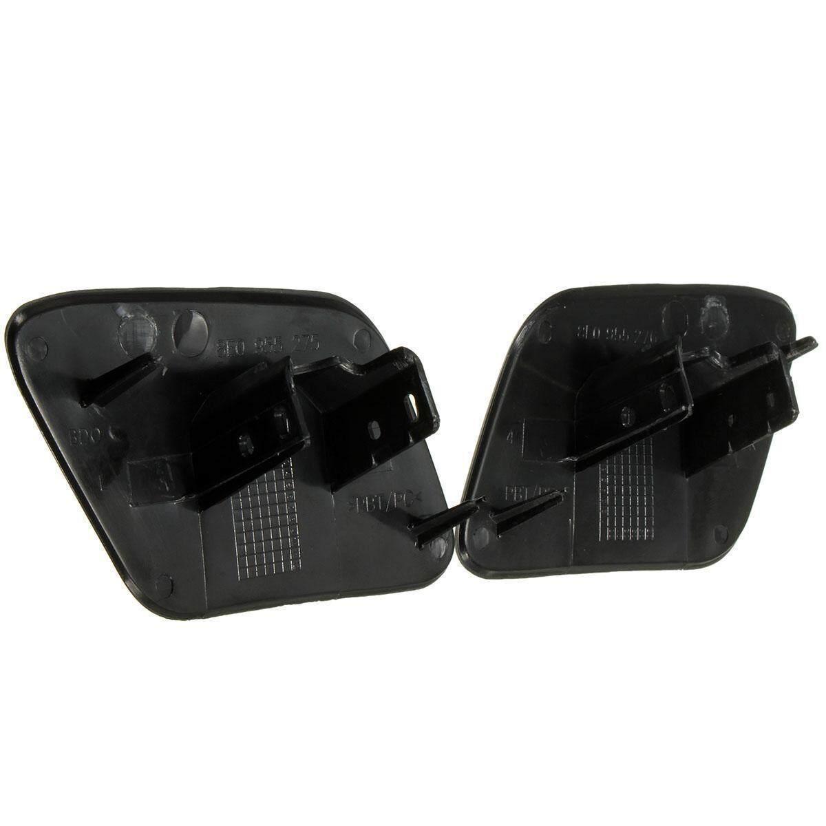 New Left + Right Bumper Headlight Headlamp Washer Cap Cover Audi A4 B6  Quatt (Black)