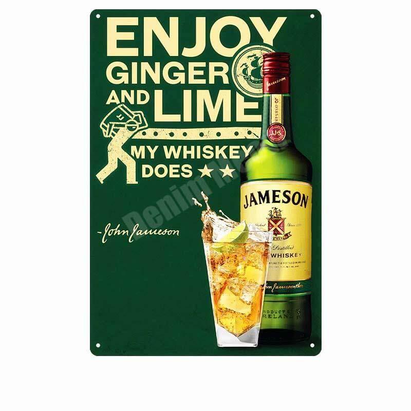 John Jameson Irish Whiskey Small Metal Tin Sign Bar Pub Restaurant Club