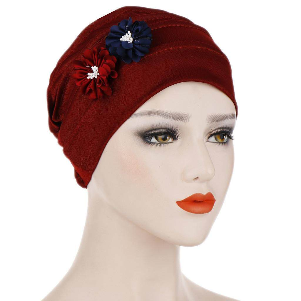 089f74325 LVS Women Solid Floral India Hat Muslim Ruffle Cancer Chemo Beanie Turban  Wrap Cap