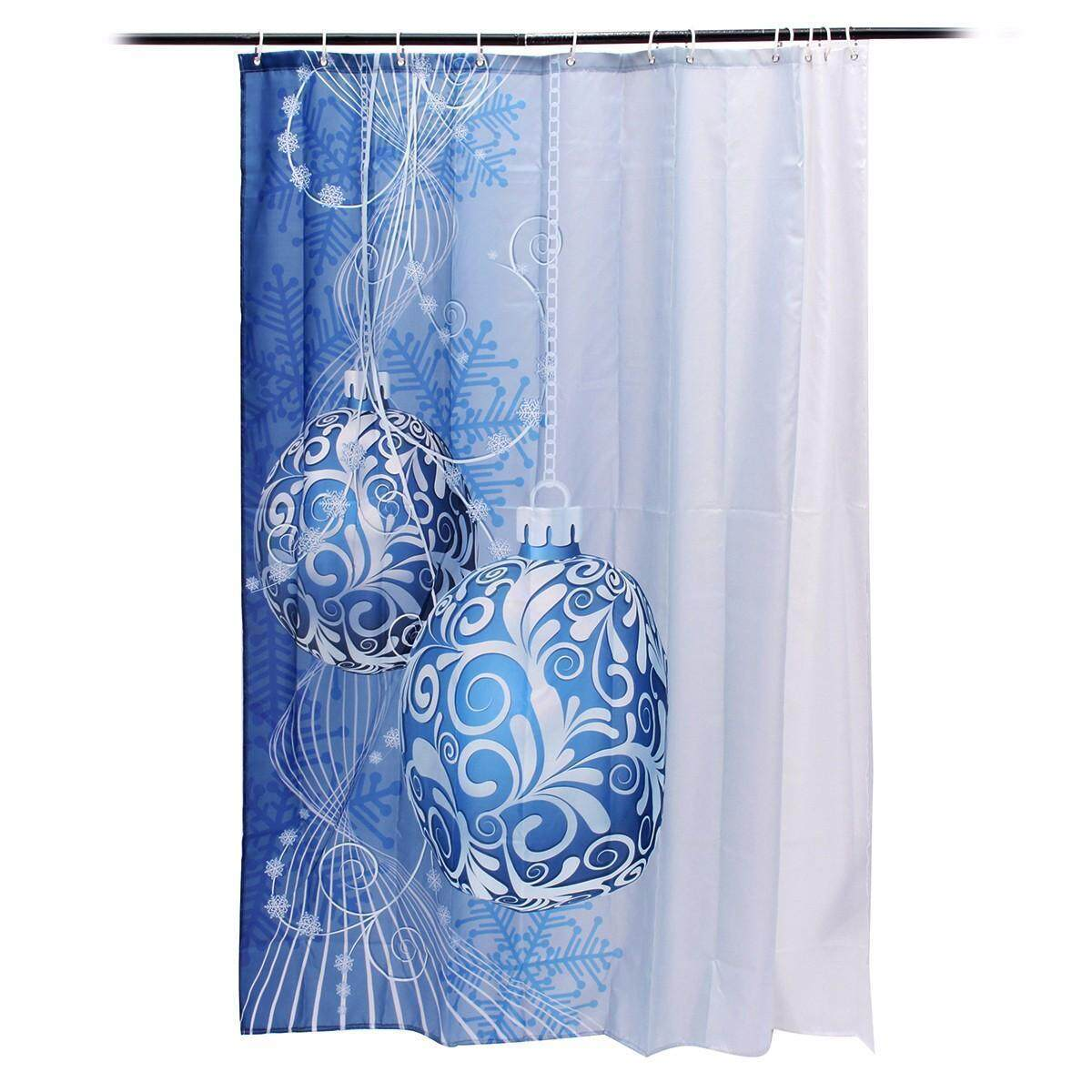 180x180cm Christmas Xmas Blue Hanging Ball Ornament Bathroom Shower Curtains With Hooks Ring
