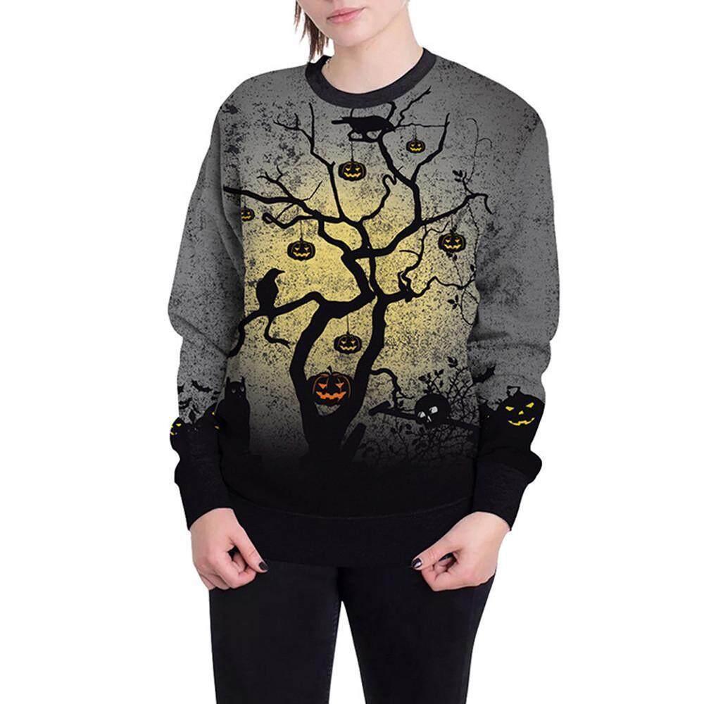 Women Long Sleeve Pumpkin Print Hooded Sweatshirt Jumper Pullover Blouse T-Shirt