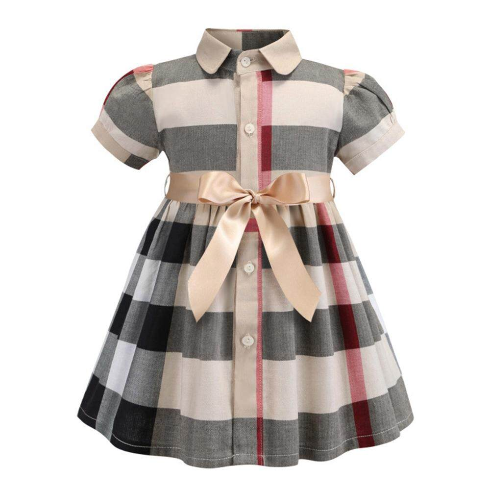 2019 Summer Toddler Girl Clothing Plaid Dress Kids Girls Casual Short  Sleeve Dresses