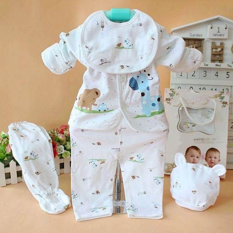 5Pcs Newborn Infant Baby Girl Boy Tops Shirt Pants Hat Bid Outfits Clothes 0-3M