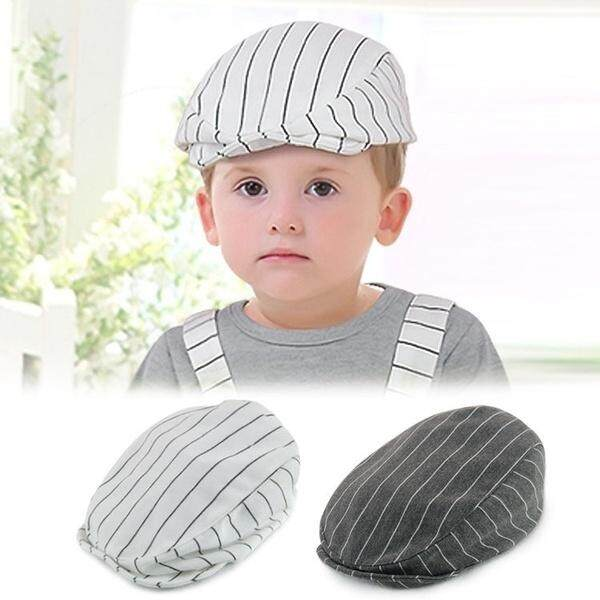 2156177ea Baby Kids Cute Cotton Stripe Beret Cap Boy Girl Peaked Baseball Casquette  Hat