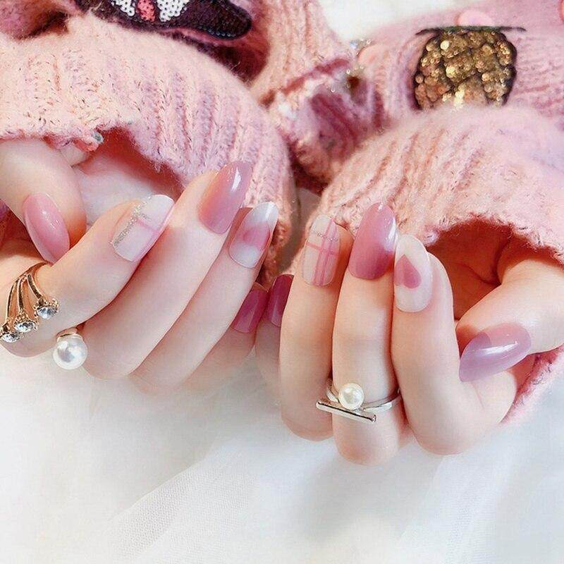 Dingyou 24 Pcs Light Pink Candy Fake Nails Short Round Soft Artificial Nails Tips Concise Manicure Accessories Diy With 2g Glue