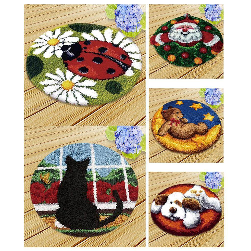 "Latch Hook Rug Kit DIY Animals Pattern Craft Cushion Rug Making 19.6/"" Round"