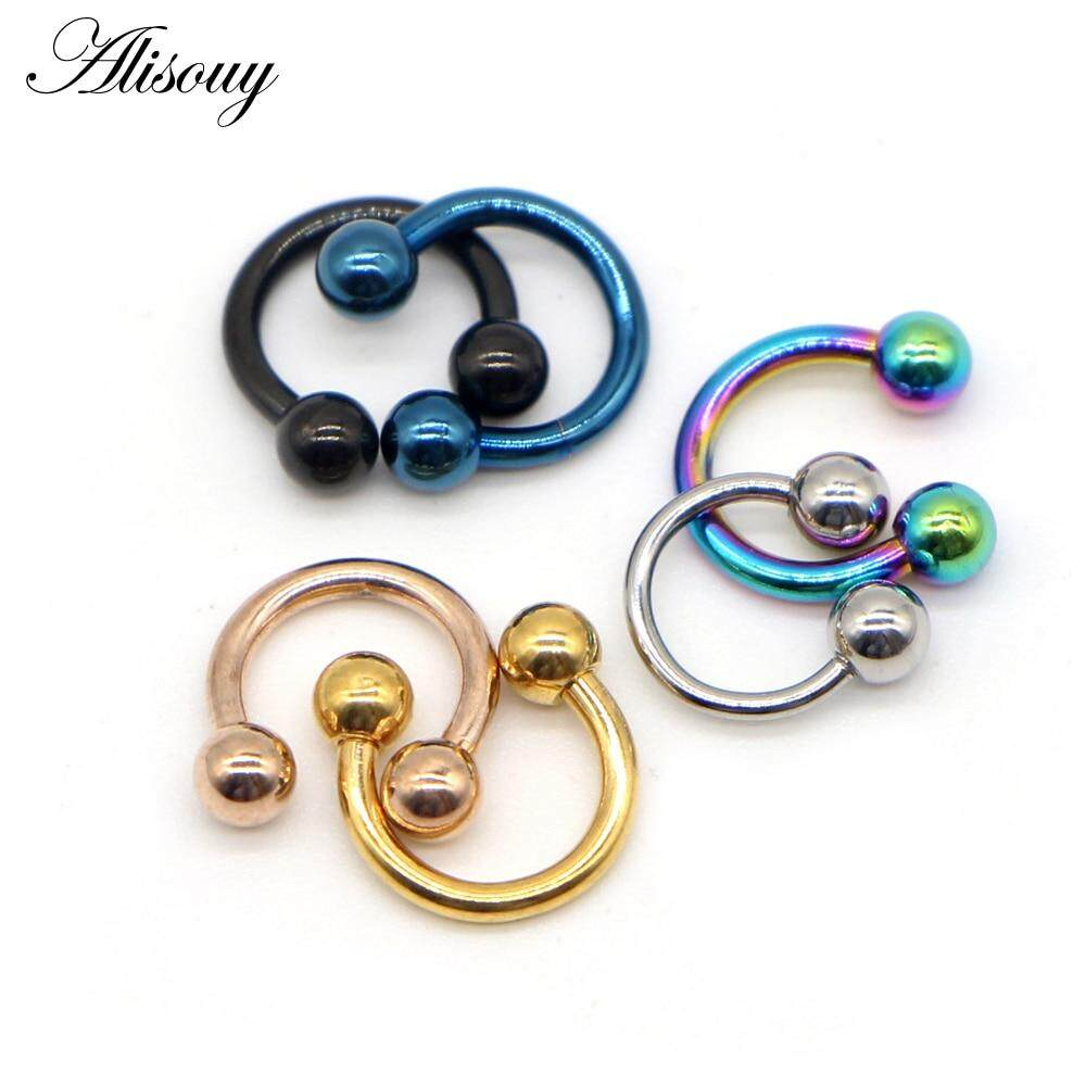 Alisouy 1pc Fashion Horseshoe Ball Fake Nipple Nose Ring Septum Stainless Steel Lip Labret Eyebrow Stud Body Piercing Jewelry Lazada Singapore
