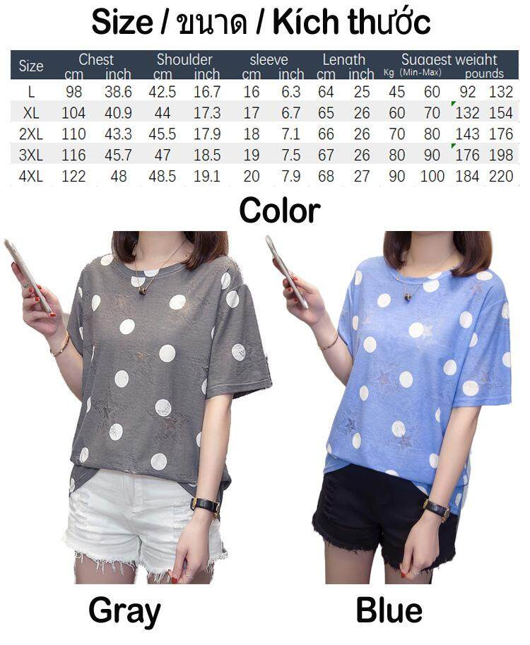 New Summer loose women plus size short-sleeved T-shirt fat lady covered  belly Wave point Polka Dot blouse