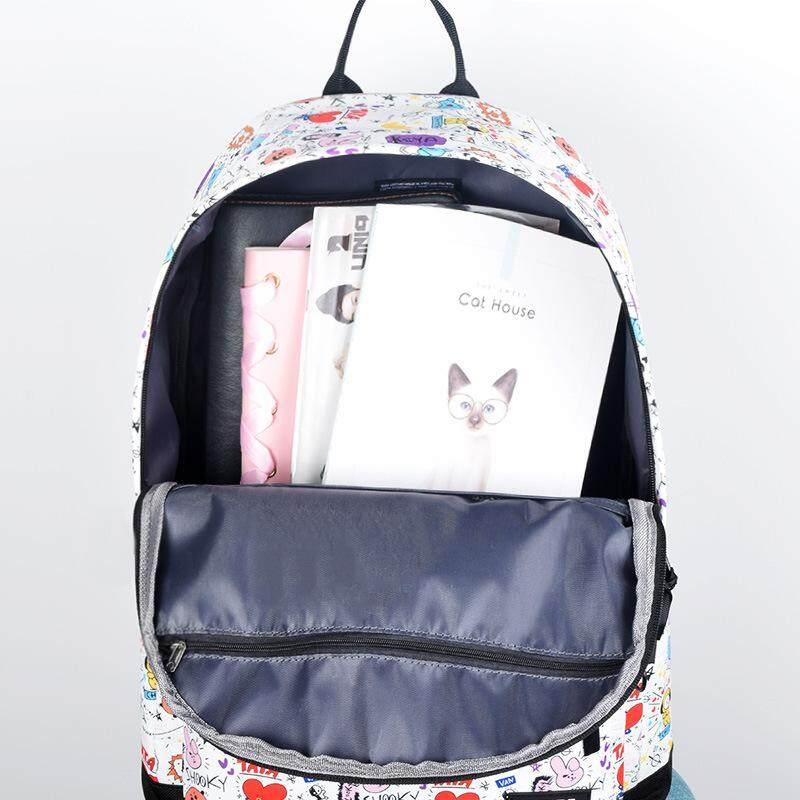 ce0ca8873185 BTS BT21 Cartoon Comics Prints Unisex Fashion Canvas Backpack Student  Shoulder Bag (2 Styles)