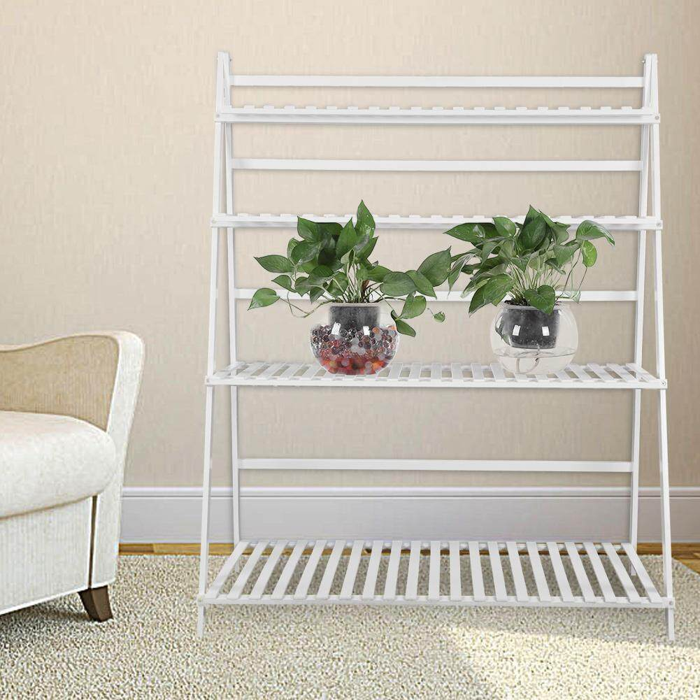 4 Tiers 3 3ft Width Plant Rack Thickened Solid Support Alpine Bamboo  Foldable Plant Stand