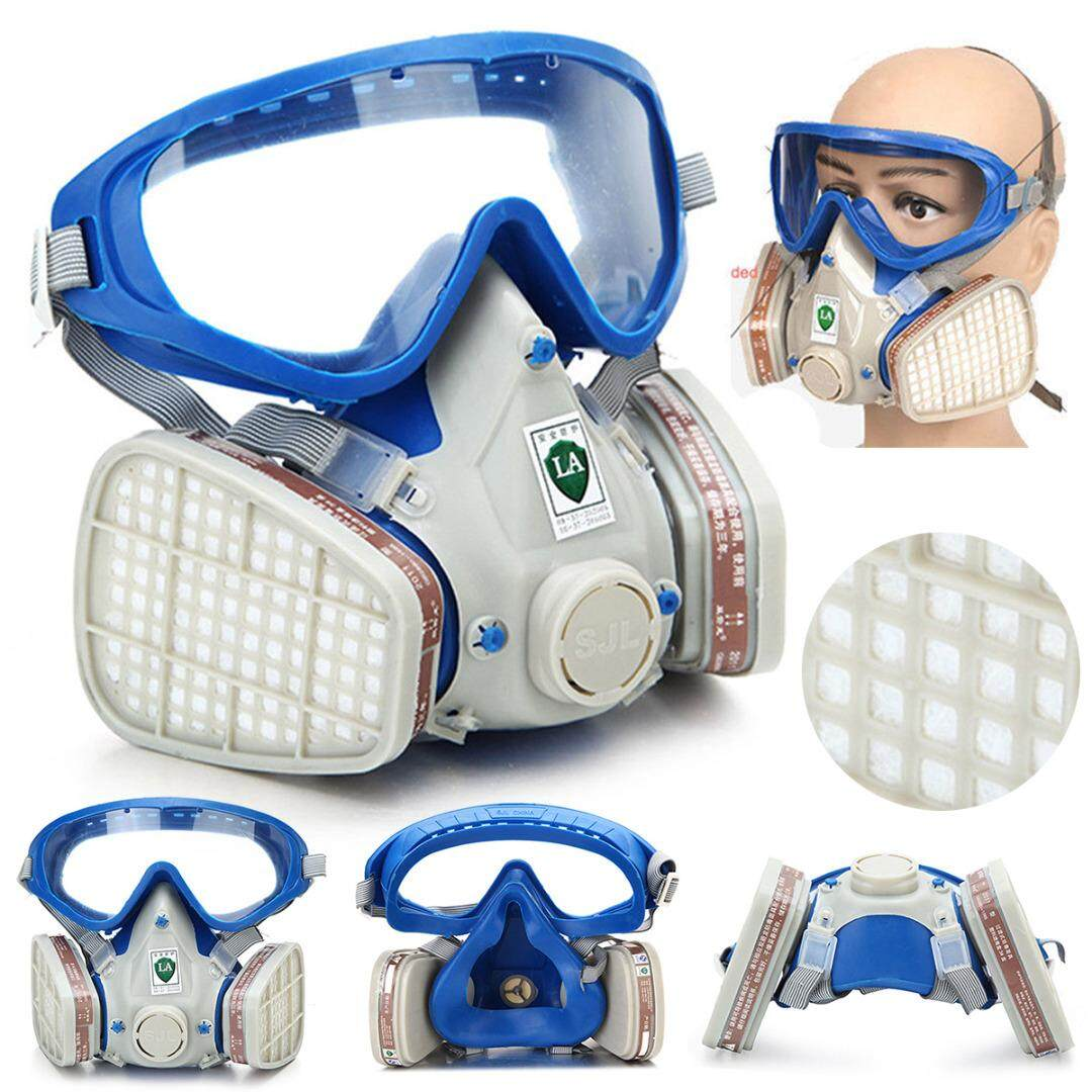 idealhere Full Face Respirator Gas Mask Double Filter Air Protection  Breathing Anti-dust