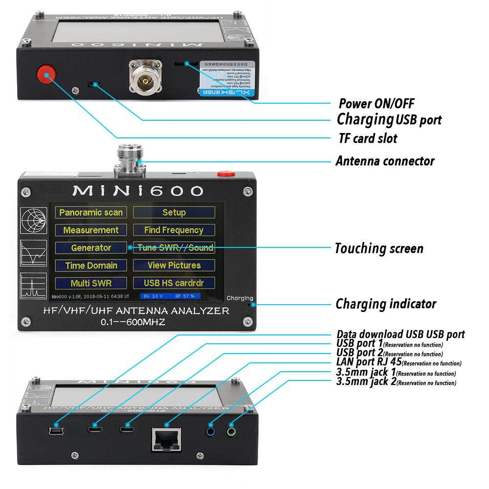 MiNi600 5V 1 5A HF VHF UHF Antenna Analyzer 0 1-600MHz Frequency Counter  SWR Meter 1 0-1999 with 4 3