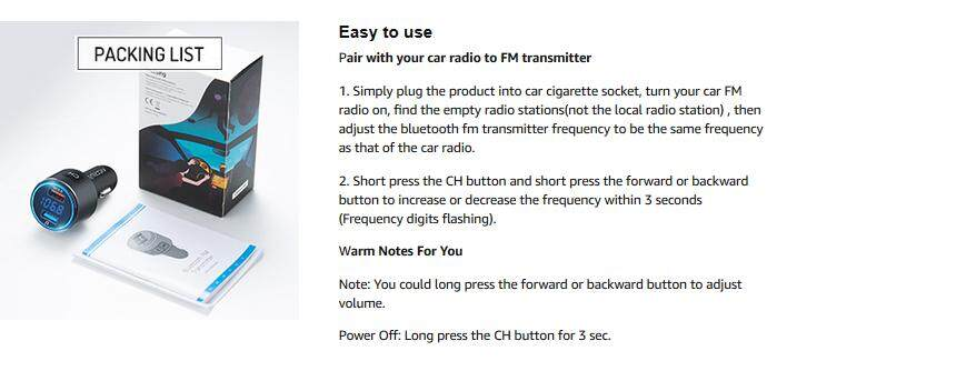 VicTsing (Upgraded Version)V5 0 Bluetooth FM Transmitter for Car,QC3 0 &  LED Backlit Wireless Bluetooth FM Radio Adapter Music Player Car Kit with