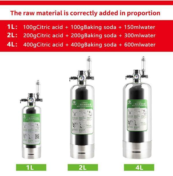 4L Carbon Dioxide Gas cylinder Aquarium Steel CO2 System Diffuser Fish Tank  Aquatic Water Plant Carbon Dioxide generator