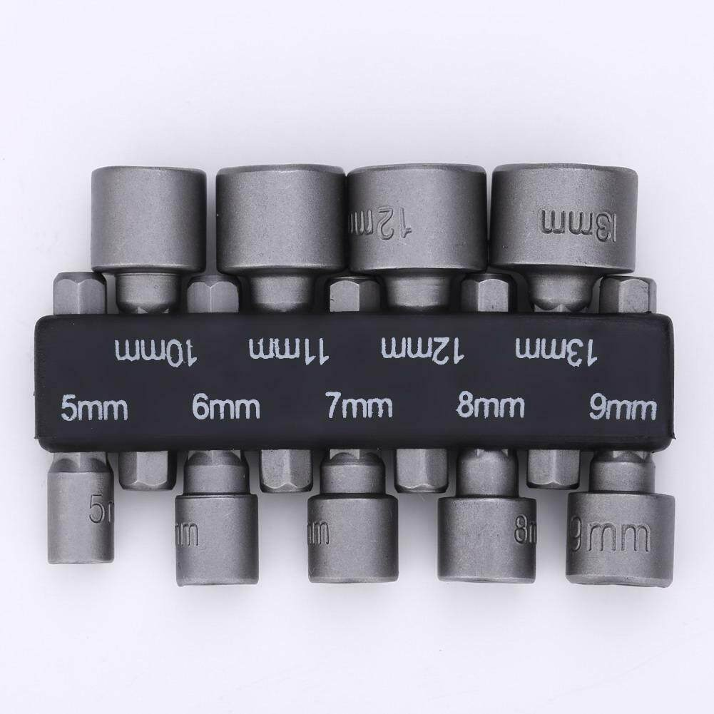 9Pcs 5-13mm 1//4 Inch Nut Driver Socket Adapter Metric Socket Impact Drill Bits