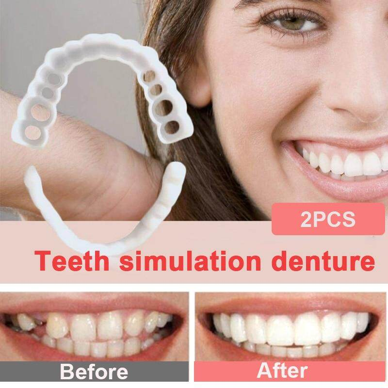 Snap on Smile! 2Pcs Upper Teeth + Lower Teeth New Reusable Dentures for  Flexible Cosmetics Comfortable Retouching Dental Care Accessories