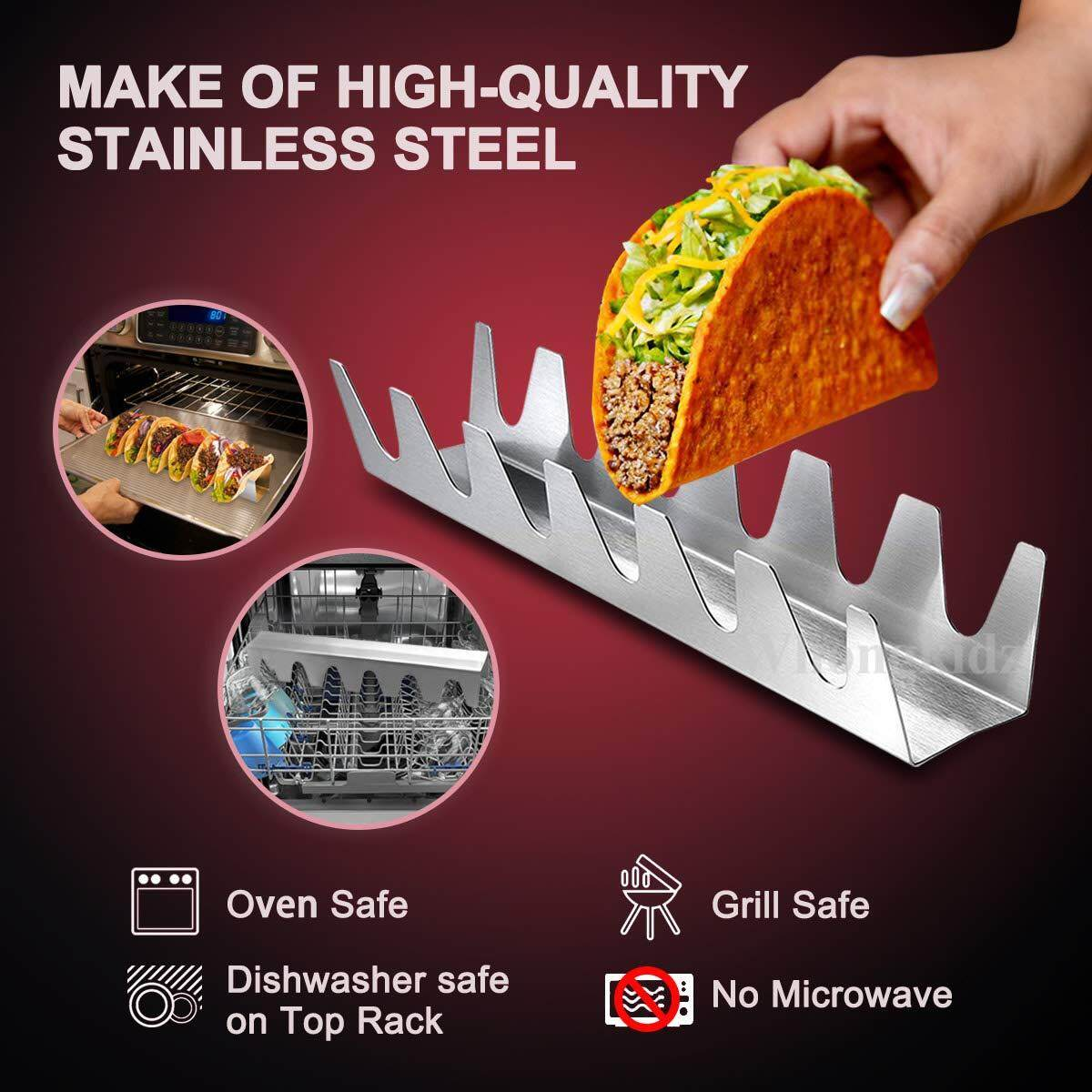 Taco Holder Set of 4 Stainless Steel Taco Stand Dishwasher /& Oven Save Easy To Fill Taco Rack And Perfect To Keep Your Delicious Tacos