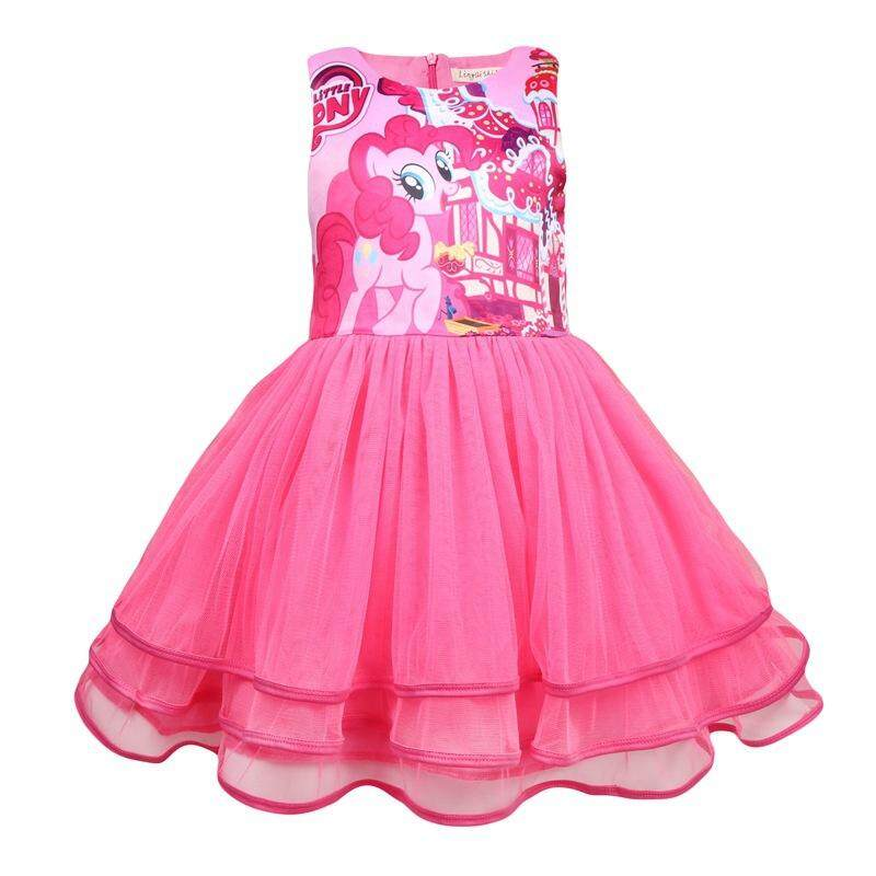 6cb834dae585 Product details of Kids girls My Little Pony style cute cartoon princess  Rainbow pony Gauze dress