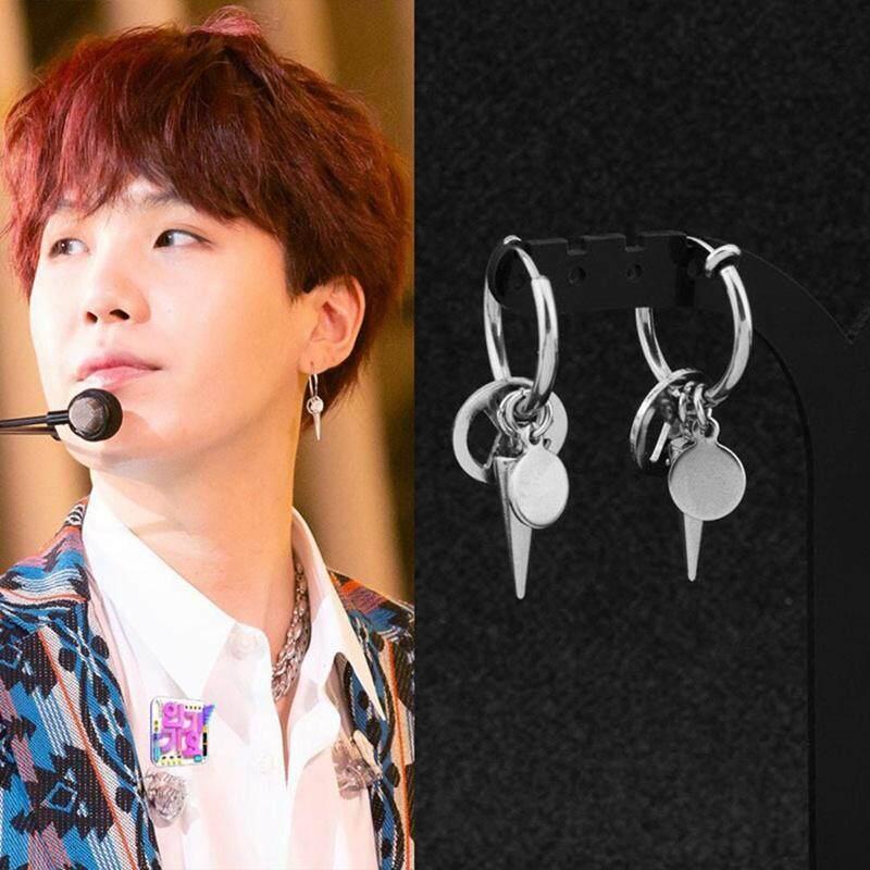 super quality online retailer newest SYS 1 Piece Fashion Jewelry Korean KPOP BTS Bangtan Boys Earrings SUGA Stud  Earrings