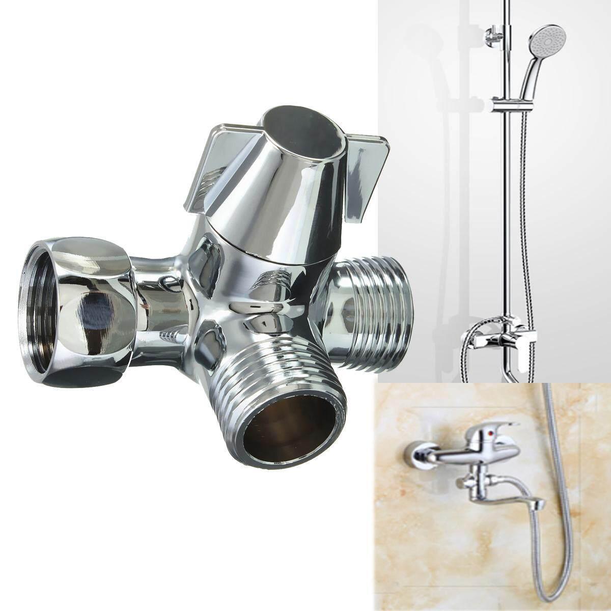 G1 2 Brass Chrome 3 Way T Adapter Shower Head Diverter Valve Shower Head Combo