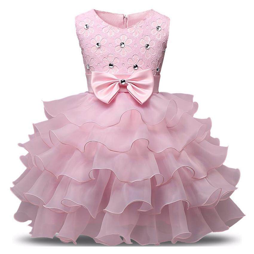 Of 2019 Children Fashion Clothing Girls Formal Long Dress Pompon Wave Type Ruffled Dresses Birthday Party For Girl 100 140cm 5 10 Years Old