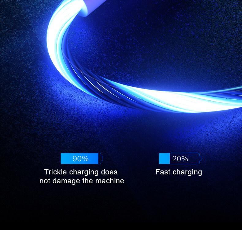 Sạc Điện Thoại Di Động Cable USB Loại C Dòng Sáng Dữ Liệu Dây Cho Samsung Huawei LED Micro Kable Apple Dòng Sạc Nhanh 8