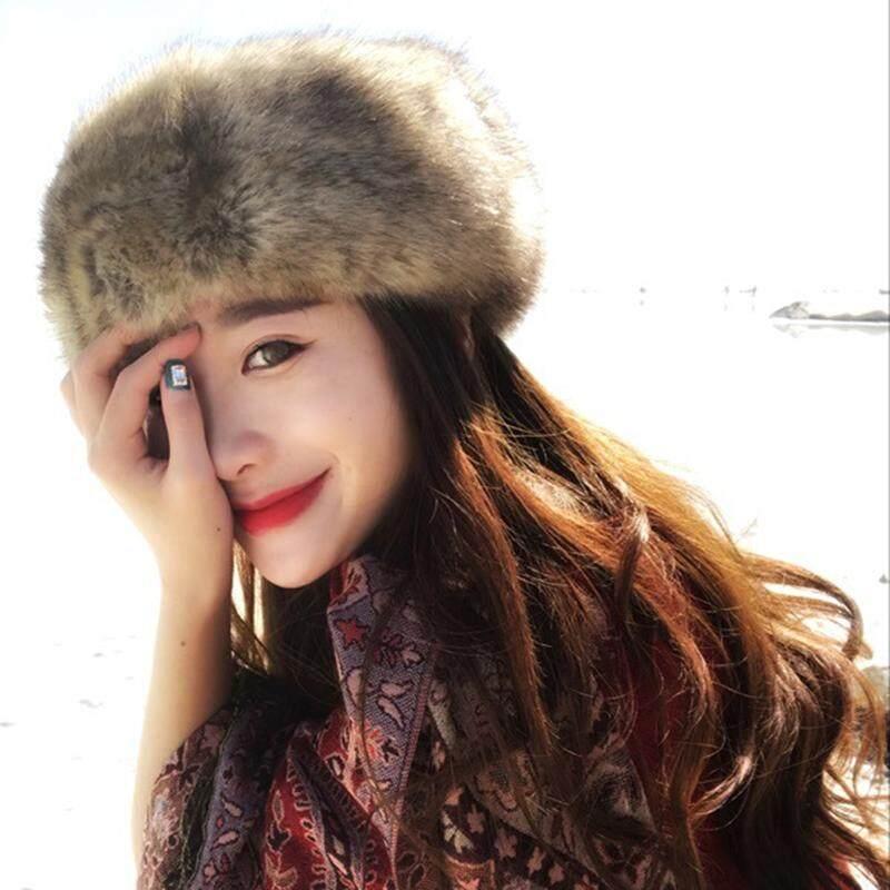 90fc2751e Graceful Women Russian Thick Fluffy Cap Fake Faux Fur Headband Hat Winter  Ear Warmer Ski