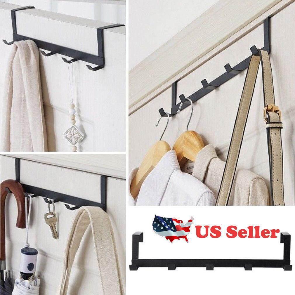 Hooks Hanger Hat Clothes Hanging Rack Holder Coat Towel Bag Over Door Bathroom