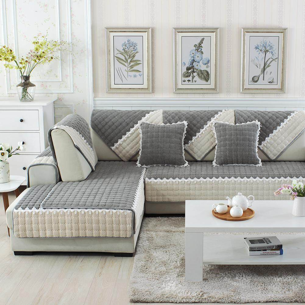 Sofa Cushion Light Gray Plaid Plush