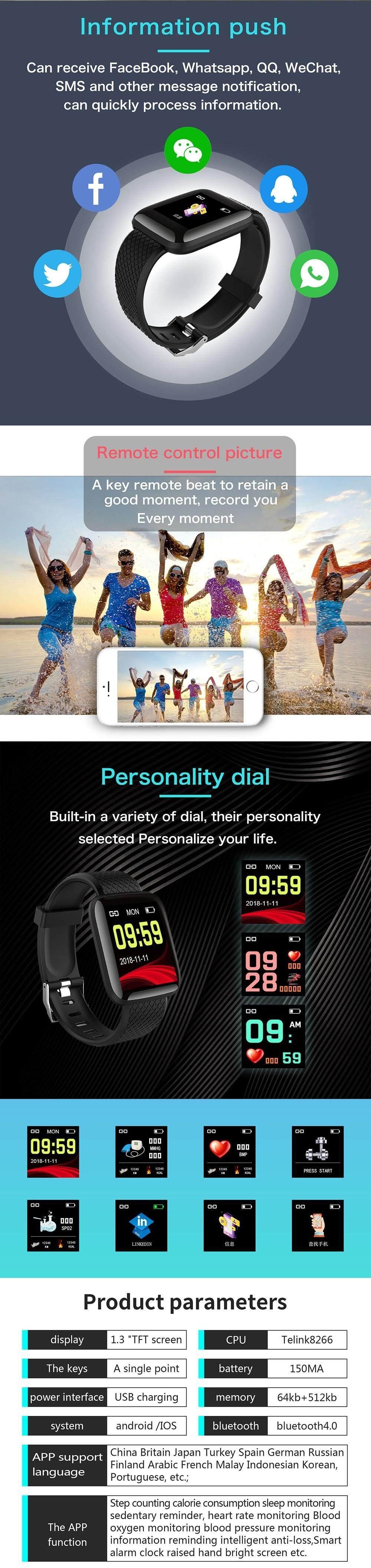 116 Plus Smart Watch Heart Rate Blood Pressure Blood Oxygen Monitor  Bracelet Pedometer Sleep Monitoring Bluetooth Waterproof Fitness Tracker  For IOS