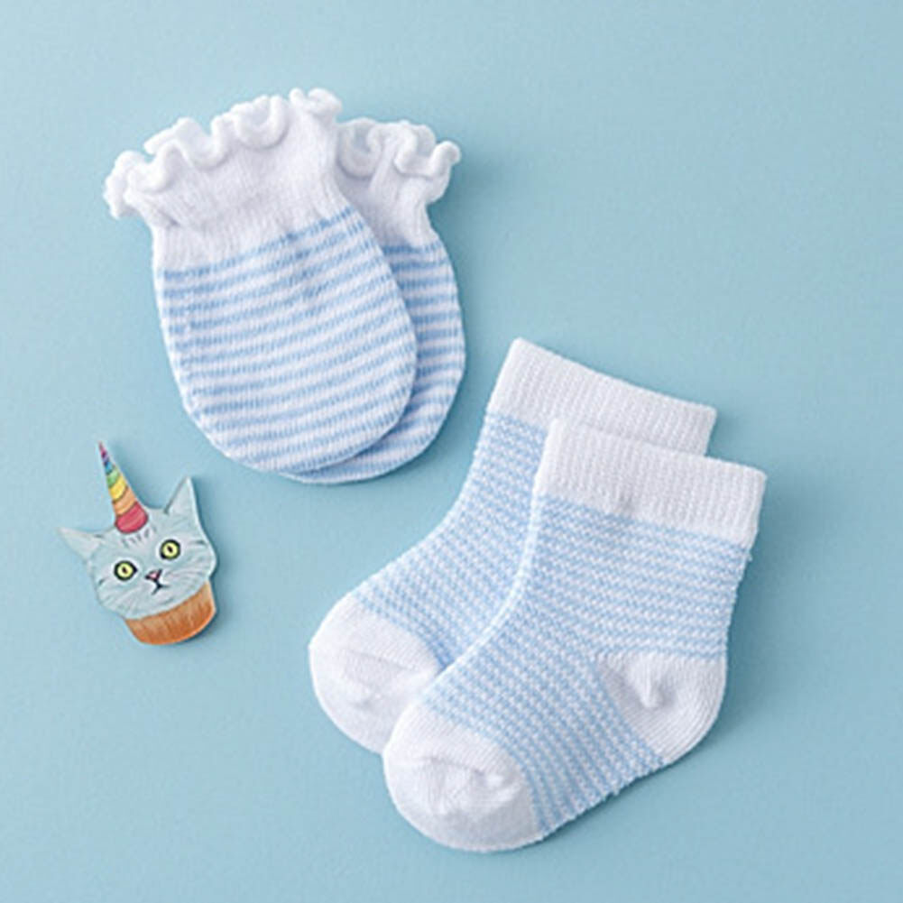 Socks Set 4Pcs Baby Girl Boy Soft Cotton Handguard Anti Scratch Mittens Gloves