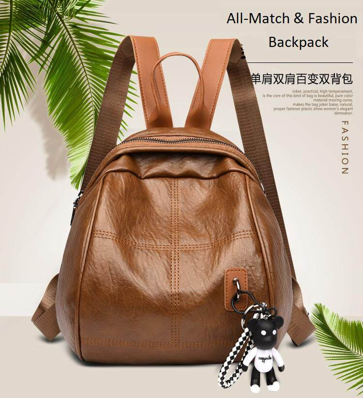 6025f9d7e5a Korean Fashion Women PU Leather Backpack Lady Bag Travel Rucksack With High  Quality