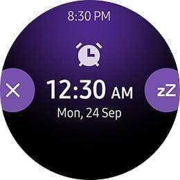 Watch face with end and sleep button informing alarm times.