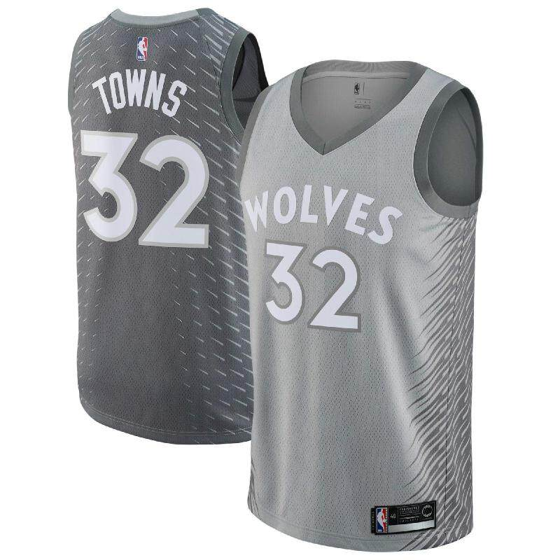 0f2e562d Product details of NBA Int S Silver City Edition Basketball Clothes  Swingman Jersey Minnesota Timberwolves Karl-Anthony Towns Men's Num 32  Chase Fashion Top ...